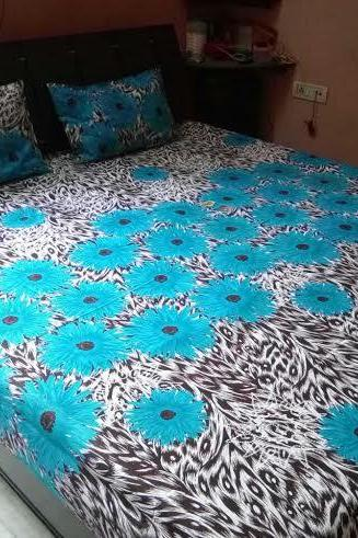TWO FREE PILLOW CASES . Blue color indian QUEEN size bedsheet set, Hippy bedsheet, picknic blanket, room divider, Bed spread